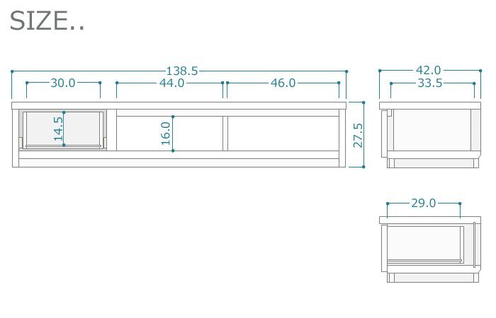 ローボード140cm[グラッディ]グロスホワイトサイズ