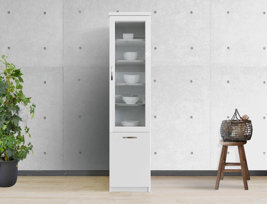 (アルム2)スリム食器棚幅40cmホワイト