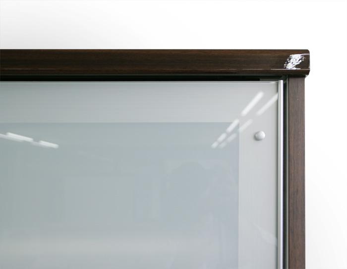 食器棚クラウド90ブラウン、ミストガラス
