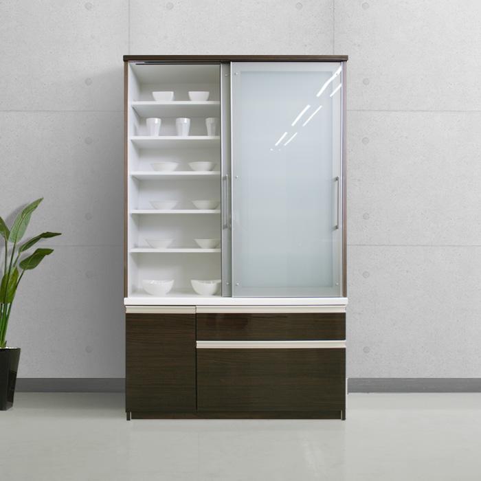 食器棚クラウド90ブラウン、斜めイメージ