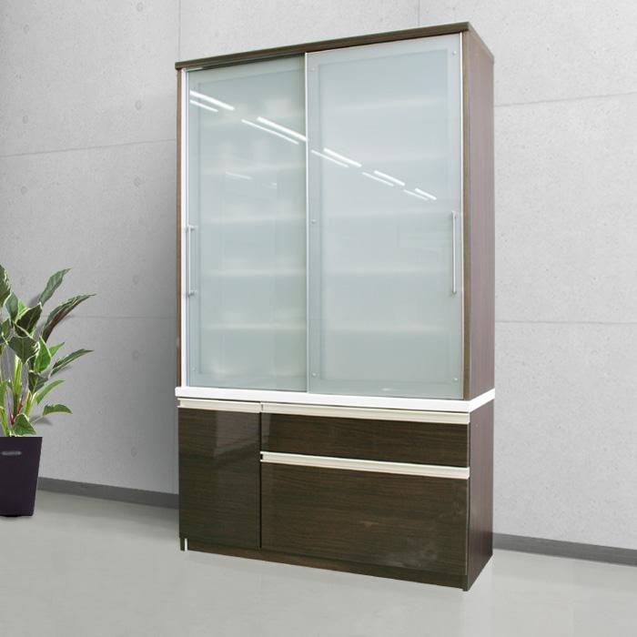 食器棚クラウド90ブラウン、正面オープンイメージ