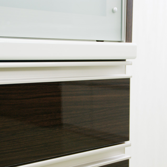 食器棚クラウド90ブラウン、表面素材