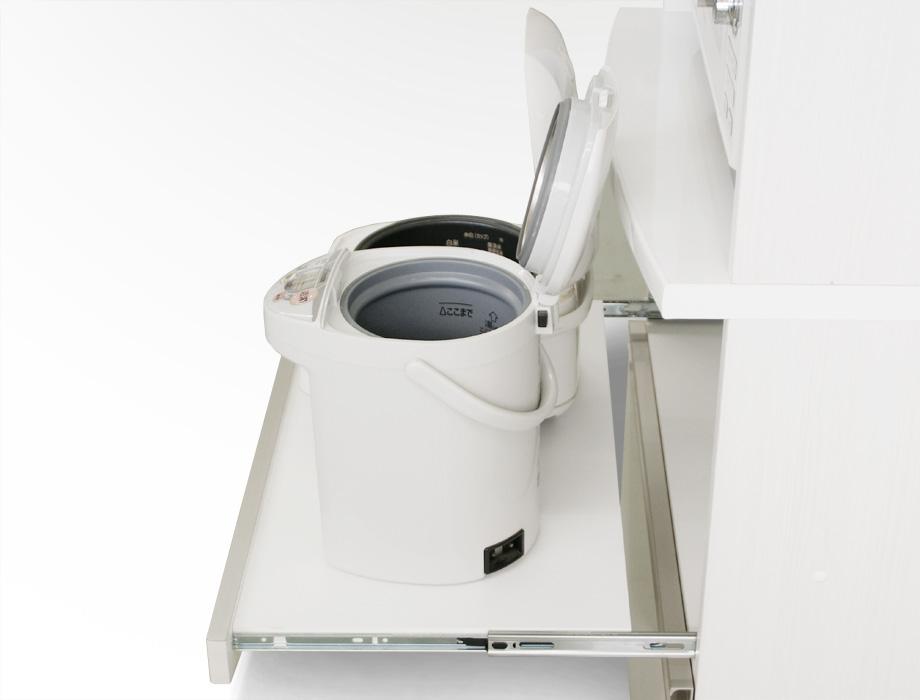 (クラウド2)レンジ台幅70cmホワイトスライド棚2