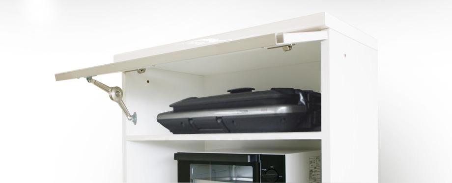 (クラウド2)レンジ台幅70cmホワイト上段フラップ扉内