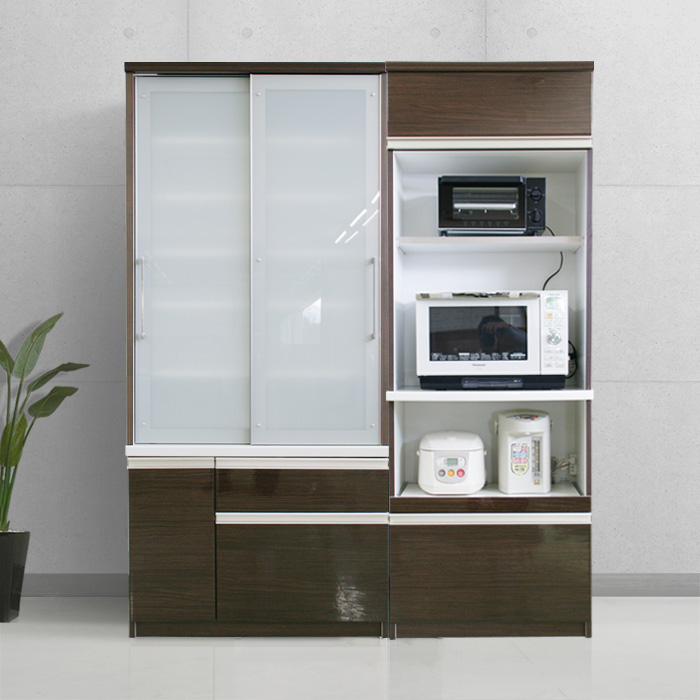 食器棚クラウド90ブラウン、食器棚90cmとレンジ台70cm