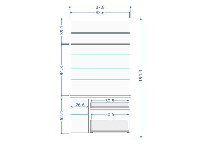 食器棚クラウド90ブラウン、サイズ詳細1