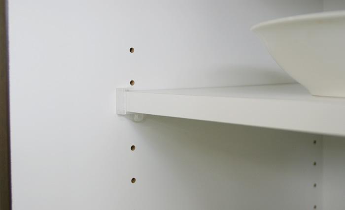 食器棚クラウド90ブラウン、耐震棚ダボ