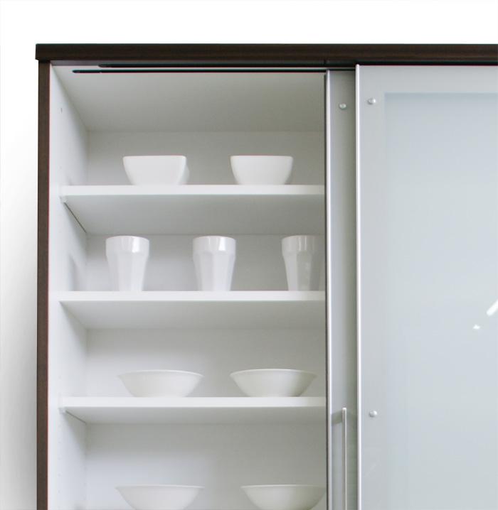 食器棚クラウド90ブラウン、引き戸オープン
