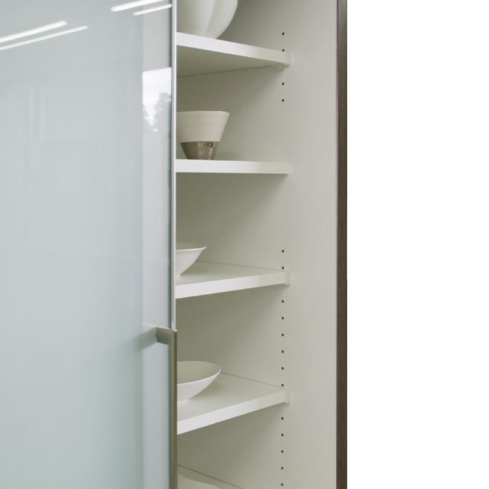 食器棚クラウド90ブラウン、固定棚
