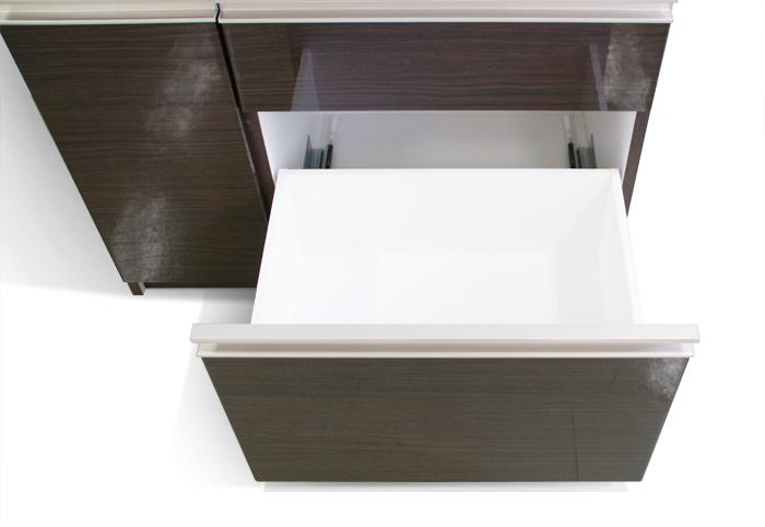 食器棚クラウド90ブラウン、下段引き出し