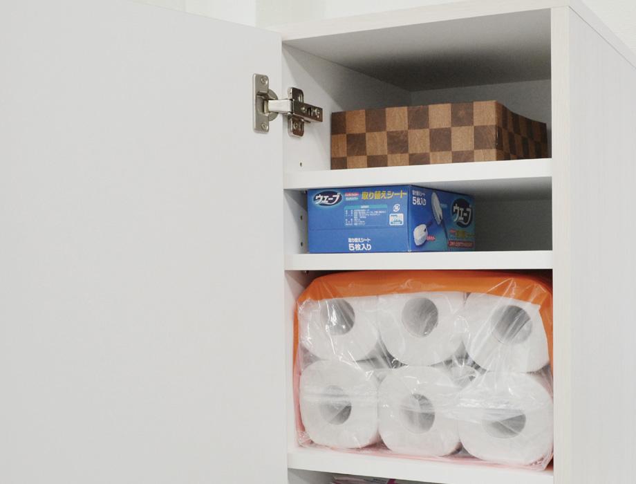 クリー二ー掃除機収納・ホワイトウッド・上段棚