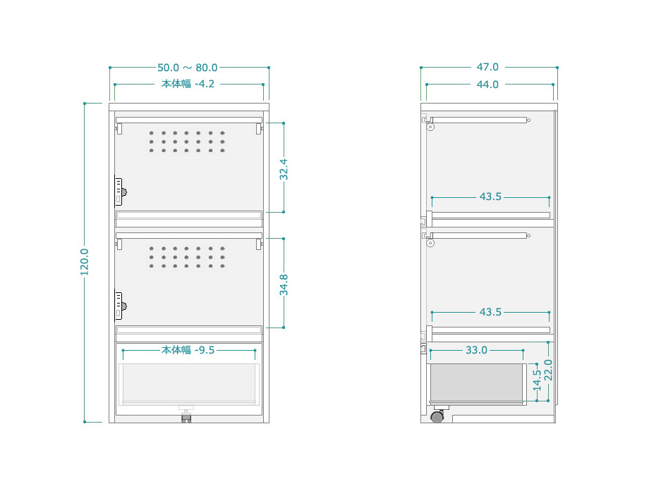 レンジ台[クーボ]幅71~80・奥行52cmサイズ図