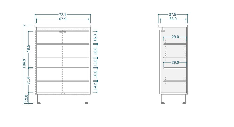 DAX(ダックス)シューズボックス ロータイプサイズ
