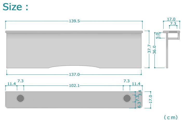 ハイエース-リアシートテーブル、サイズ詳細1