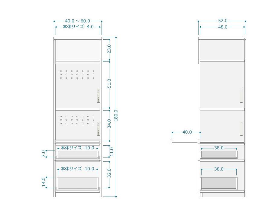 レンジ台[ラスコ]幅40~60・奥行52cmサイズ図